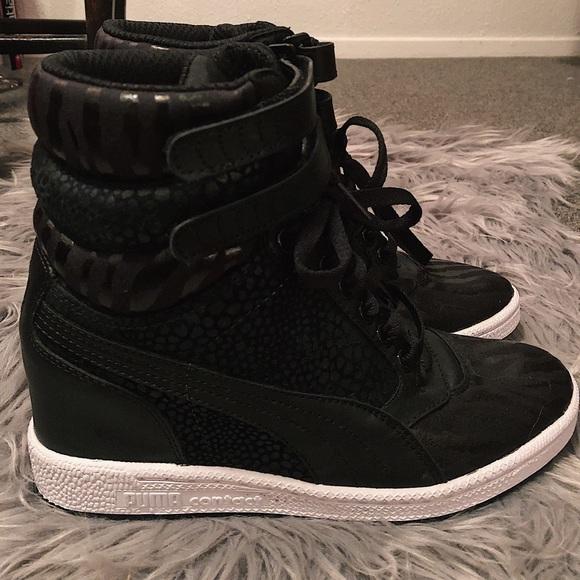 Black Puma wedge sneakers
